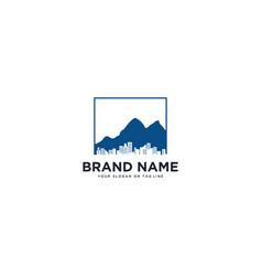 Mountain and urban logo design vector