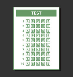 multiple choice blank nswer sheet vector image