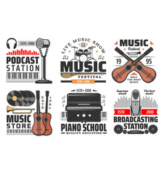 music icons musical instruments and microphones vector image