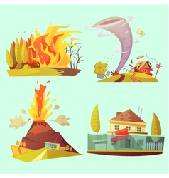 Natural Disaster Retro Cartoon 2x2 Icons Set vector