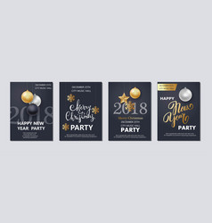 New year and christmas brochure flyer invitation vector