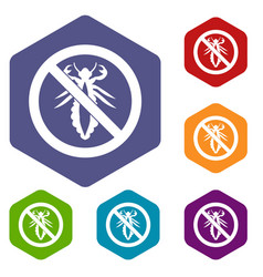 no louse sign icons set vector image