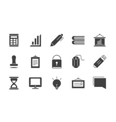 office supply equipment stationery icon set vector image