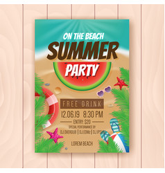 on the beach summer party advertising poster vector image