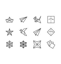 Origami flat line icons set paper cranes bird vector