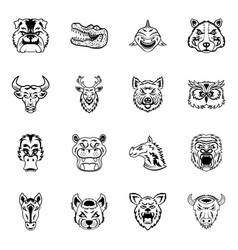 Pack of animals glyph icons vector