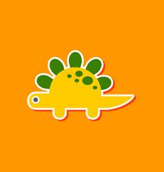 paper sticker on stylish background dinosaur vector image