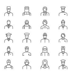 people avatars characters staff black thin line vector image