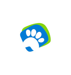 Pet dog foot step logo vector