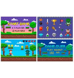 Pixel art game in 8 bit character life scenery vector