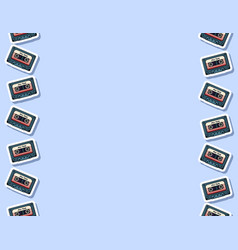 Retro mix tape seamless pattern letter format vector