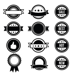 Retro round badges vintage labels set vector image