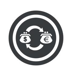 Round black dollar euro sign vector image
