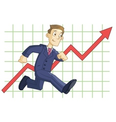 Running businessman on the business graph vector image