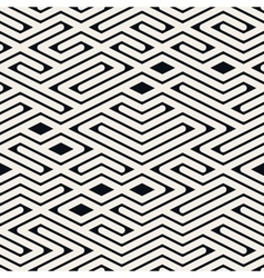 Seamless Black and White Rounded Line Maze vector image