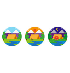set camping place picture vector image