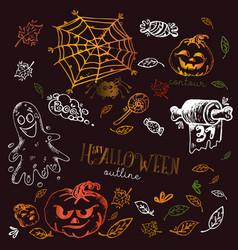 set halloween pumpkin and spooky vector image