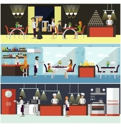 set of banners with restaurant interiors vector image vector image