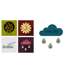 Set of ecology icons in flat style with shadow vector