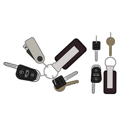 Set of realistic keys icons Color vector