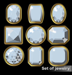 set of white gems diamond of various shapes vector image