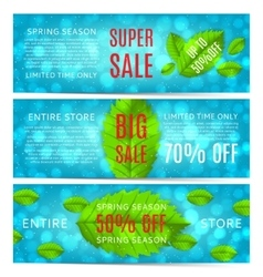 set spring sale banners with leafs vector image