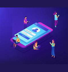 Sign in page isometric 3d concept vector