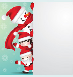 Snowman and children behind blank paper vector