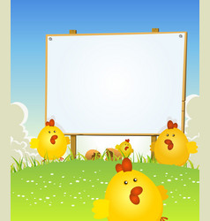 Spring easter chicken and wood sign vector