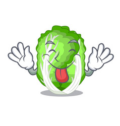 Tongue out chinese cabbage vegetable isolated on vector