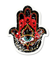 Traditional distressed sticker tattoo a hamza vector