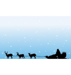 Train Santa with snow of silhouettes landscape vector image