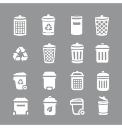 Trash can and recycle bin icons Garbage rubbish vector image