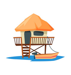 tropical beach bungalow on water summer vacation vector image