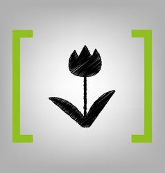 tulip sign black scribble icon in citron vector image
