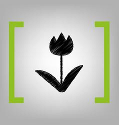 Tulip sign black scribble icon in citron vector