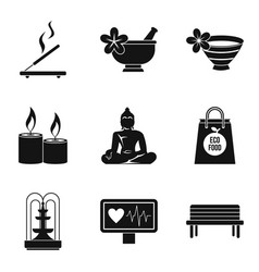 Type of yoga icons set simple style vector