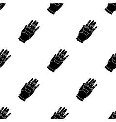Virtual reality glove controller icon in black vector