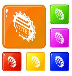 vote emblem icons set color vector image