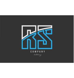 White blue alphabet letter rs r s logo icon design vector