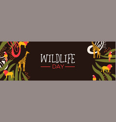 wildlife day safari web banner with wild animals vector image