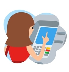 Woman using ATM machine icone vector