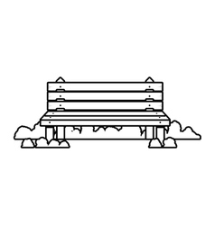 Wooden chair in park with shrubs vector