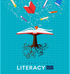 world literacy day book tree concept for education vector image