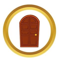 Brown arched wooden door icon vector image