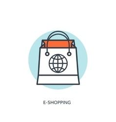 Flat lined shopping bag Web shop vector image