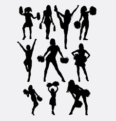 Girl cheerleader pose silhouette vector image