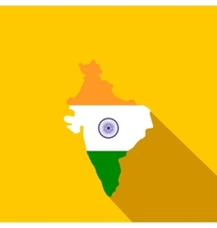 Map of India with the image of the national flag vector image vector image