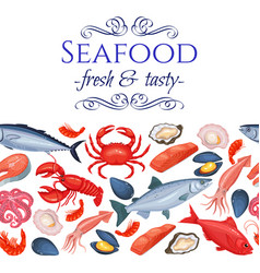 seamless border seafood products vector image vector image