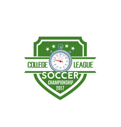 soccer shield label of football sport game team vector image